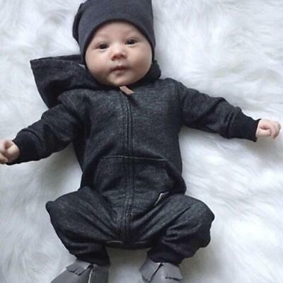 Newborn Infant Baby Kids Boy Hooded One Piece Outfit Jumpsuit Romper Clothes set