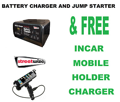 Streetwize 12v Auto Battery Charger & 75 Amp Start SW75JS & Mobile Holder/Charer