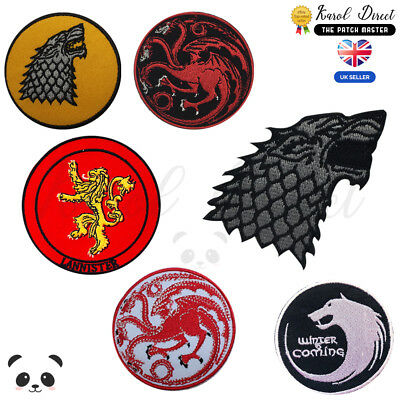 Game of Thrones Embroidered Iron On /Sew On Patch Badge For Clothes etc