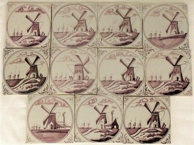 Antique Dutch Delft Tiles Mill Well Boats Ship Manganese 18th/19th C Tile
