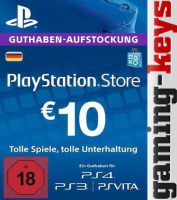 10 EUR DE PlayStation Network Card - PSN PS4 PS Vita 10€ Euro Guthaben DE