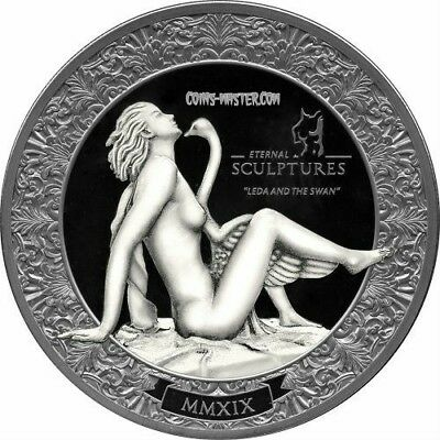 2019 2 Oz Silver Palau $10 LEDA AND SWAN Eternal Sculptures Coin.