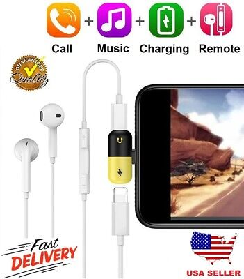 2in1 Lightning Adapter Headphone Jack Cable Splitter Audio For iPhone X 8 7 Plus