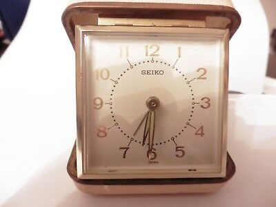 Vintage Seiko Travel Alarm Clock in Case Manual Wind-up mechanical has issue