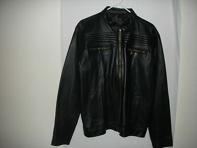 Mens Black Leather Jacket Genuine Sheep Leather, new condition
