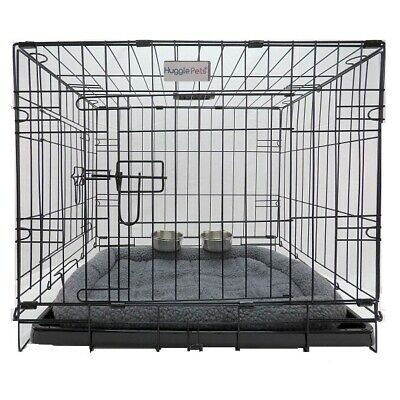 HugglePets Dog Puppy Folding Cage Crate with Bed & 2 Clamp On Bowls S M L XL XXL