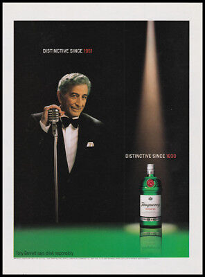 Tanqueray gin print ad 2002 Tony Bennett at microphone