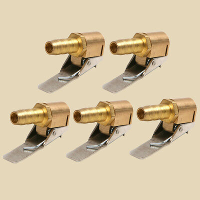5pc 6mm Brass Clip On 1/4''Auto Car Tire Inflator Valve Connector Air Chuck