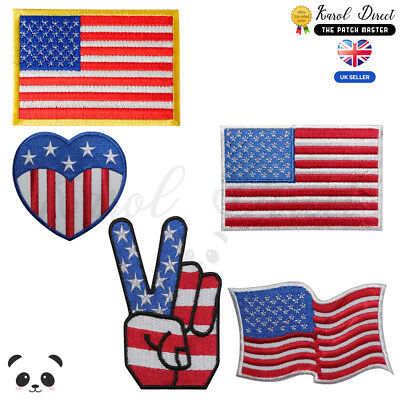 USA National Flag USA Embroidered Iron On /Sew On Patch Badge For Clothes etc