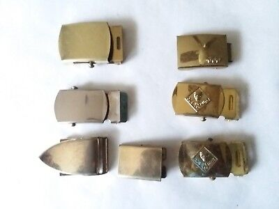 Vintage Lot of 7 Belt Buckles Repurpose Craft Jewelry Metal Brass Retro