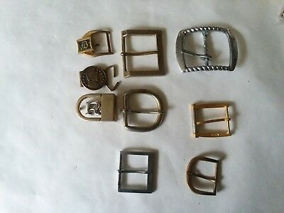 Vintage Lot of 9 Belt Buckles Repurpose Craft Jewelry Metal Brass Retro