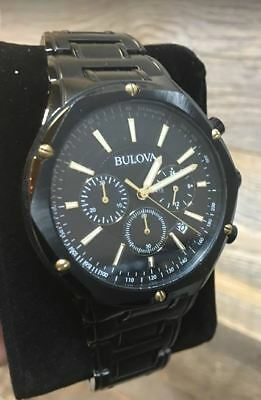 Bulova 98B287 Men's 43mm Black/Gold tone Stainless Steel Chronograph Watch