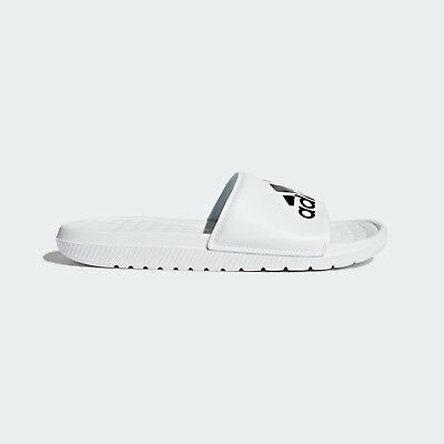 Mens Adidas Voloomix White Slip On Slides Athletic Sport Sandals CP9447 Sz 11-12