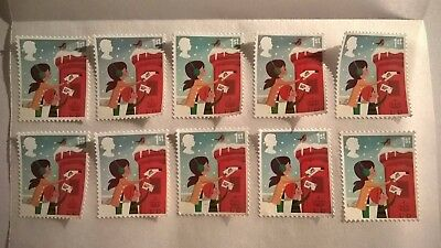 10 First Class Christmas Stamps Off Paper With Full Original Gum