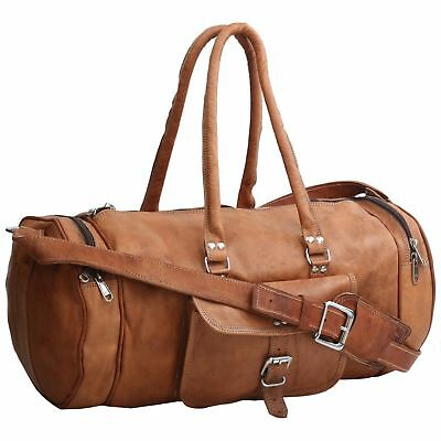 Rich Soft Real Leather travel luggage vintage overnight weekend duffel Gym Bag