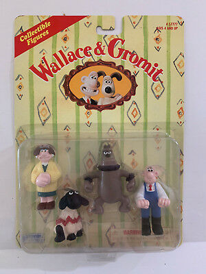 Mint on CARD 4 Wallace and Gromit Collectible Figures 1989 from Irwin