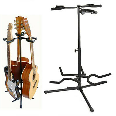 3 Way Multi Guitar Padded Stand Acoustic Electric Bass Guitar Rack Telescopic