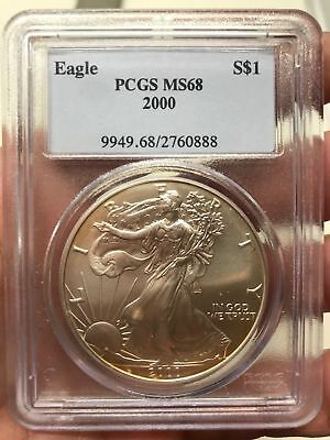 2000 Silver Eagle $1 PCGS MS68 - American Eagle Silver Dollar ASE Toning :