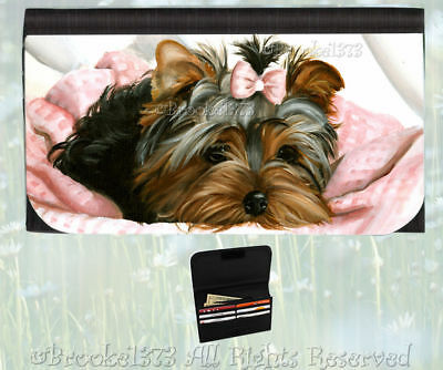 YORKIE puppy YORKSHIRE TERRIER wallet dog art painting card holder change purse