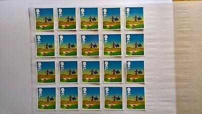 20 Second Class Christmas Stamps Off Paper With Full Gum But Very Minor Faults
