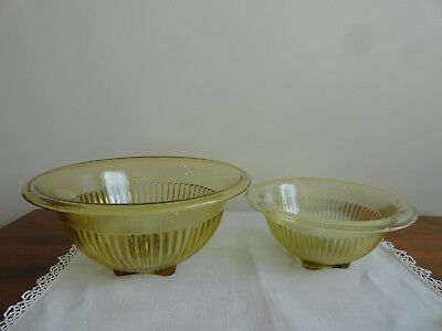 2 Vintage Gold Yellow Amber Federal Glass Nesting Mixing Bowls Depression Ribbed