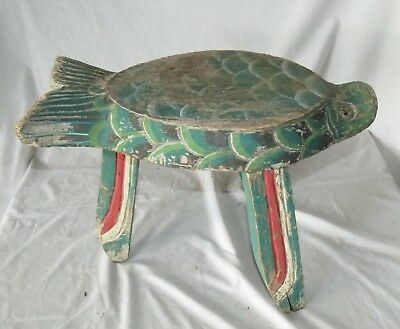 "NORTHWEST COAST OLD FISH STOOL HAND CARVED AND PAINTED WOOD 19""X10""x14""H"