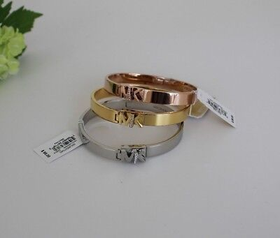 Michael Kors Iconic Hinged MK Logo Bangle Bracelet with Hint of Glitz