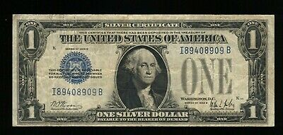 $1 1928 One Dollar USA Silver Certificate Old Bill Money Blue Seal Note Currency