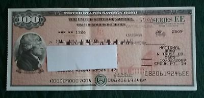 $100 Dollar USA Savings Bond 2009 Jefferson One Hundred Crisp Note Bill Card