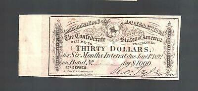 $30 Dollars CSA from 1864 $1000 Confederate Bond Currency Coupon Money Note Bill