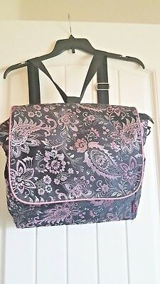 Ima Rose-N-Bloom LA Diaper Bag,Pink & Black Silky Shiny,Messenger/Backpack style