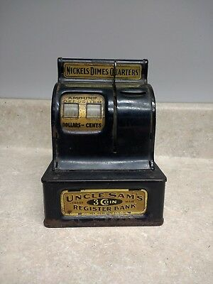 Vintage WWII Era 1940-1945 Uncle Sam's 3 Coin Register Bank By Durable Toy Co.