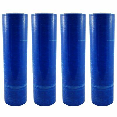 "4 BLUE 18""x 1500 FT Roll 80 Gauge Thick Stretch Packing Wrap Pallet Shrink Film"