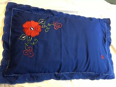 Pair Of Embroidered Red Poppy Flower Blue Cotton Pillowcases
