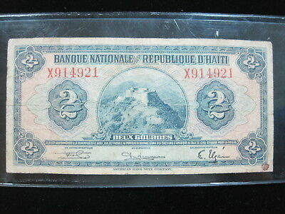 Haiti 2 Gourdes 1949 02# Bank Currency Money Banknote