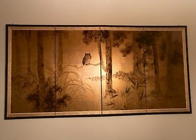 Hand Painted Gold Leaf & Silk Japanese 4 Panel Screen Made in Kyoto Owl
