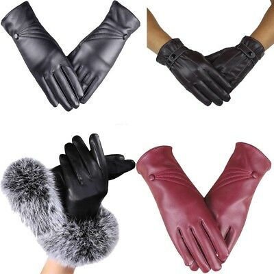 Fashion Women Lady Black Leather Gloves Autumn Winter Warm Rabbit Fur Mittens