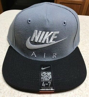 6f3874bab31 NIKE AIR SNAPBACK 4 7 Kids Youth Adjustable Hat Cap Grey White ...