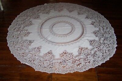 """Pretty! Ivory Lace Round Table Cloth~ 70"""""""