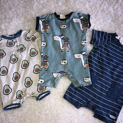 Jack And Milly Boys Rompers Size 00 Lot Of 3 B7
