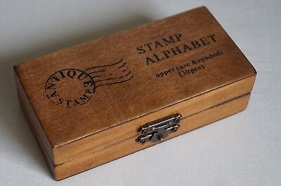 Vintage Style Arts Crafts Calligraphy Boxed 30 piece Upper Case Rubber Stamp Set