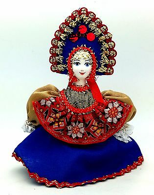 Russian Doll traditional folk costume porcelain face CHRISTMAS Tree Ornament
