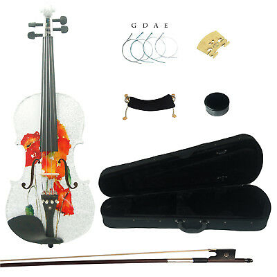 Kinglos 4/4 Full Size Butterfly Colored Ebony Fitted Solid Wood Violin Kit