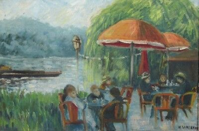 Vintage French Oil Painting,Impressionist, the Seine River at Bougival, Signed