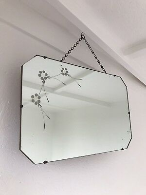 Vintage Mirror art deco Scalloped Etched mirror with Hanging chain