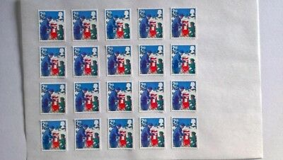 20 Second Class Christmas 2018 Stamps Off Paper With Full Original Gum