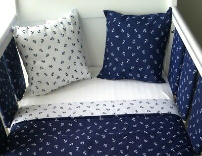 "12"" Handmade Cushion Cover White With Navy Anchors Nautical ⚓️⚓️"