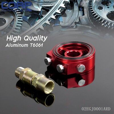 Red Color Racing Sport JDM Aluminum Oil/Gauge Filter Sandwich Adapter Plate Kit
