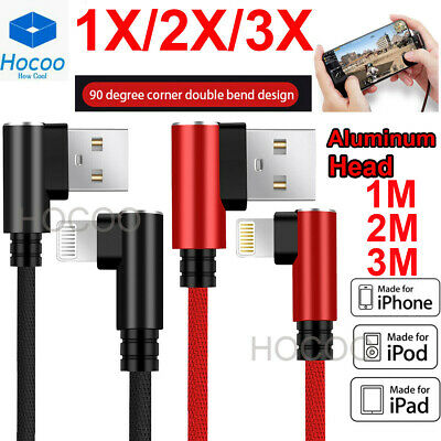 3X 1M/ 2M For iPhone XS MAX Braided 90 Degree Lightning Cable USB Charger Cord