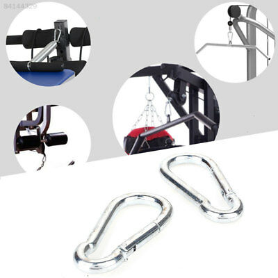 2A20 2pcs Sports Fitness Durable Carabiner Motion Silver Metal Lock Catch